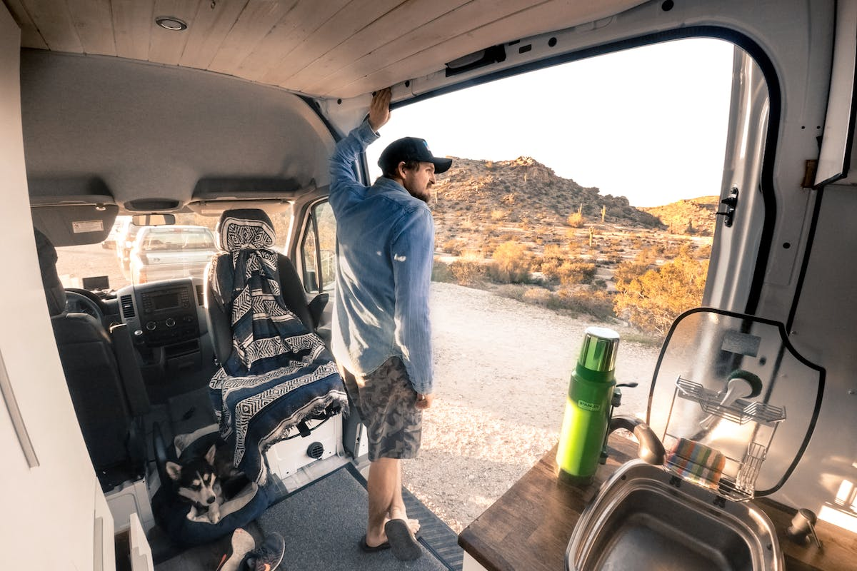 Converted Sprinter Van in the dessert