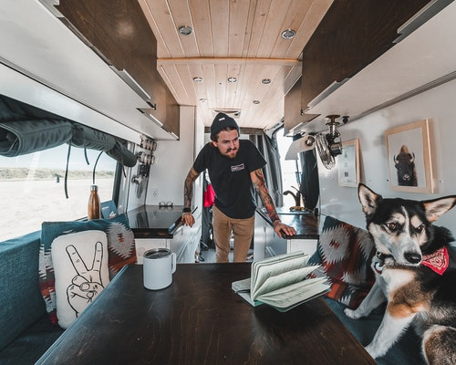 Inside a converted Mercedes Sprinter Van