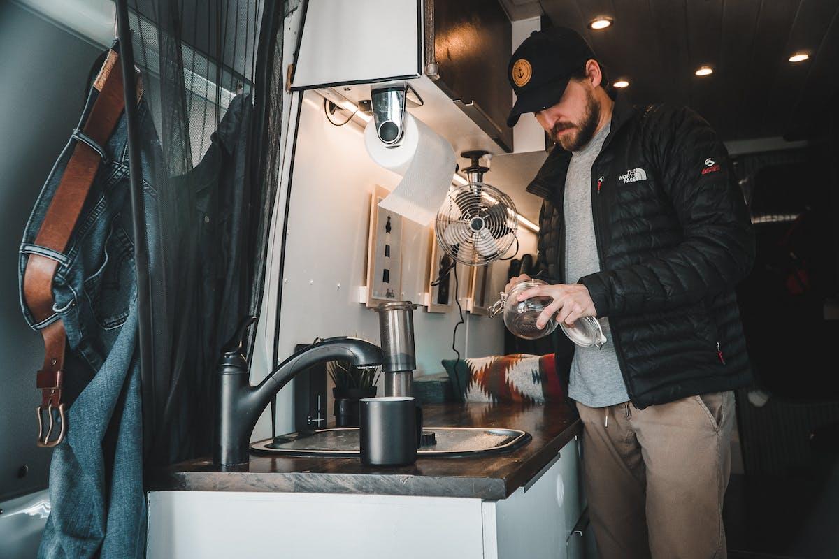Making coffee in the van