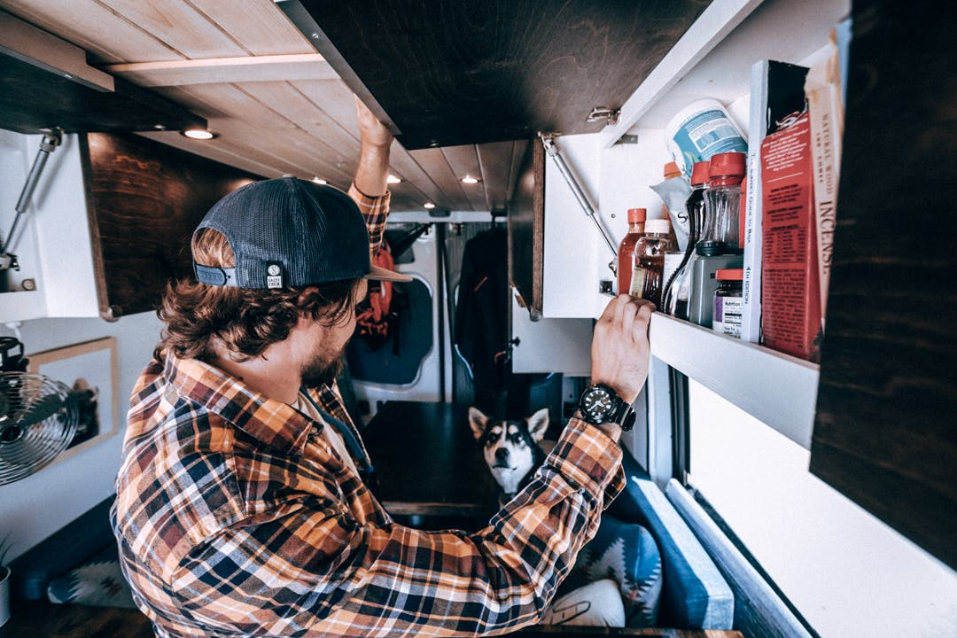 Upper cabinets in the van