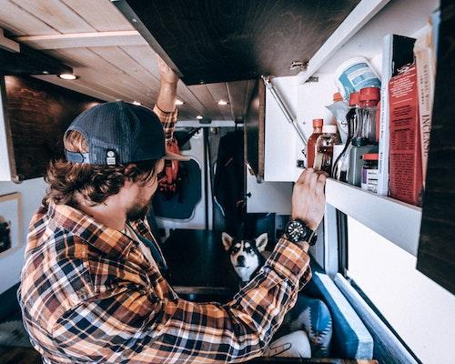 Upper cabinets in the van