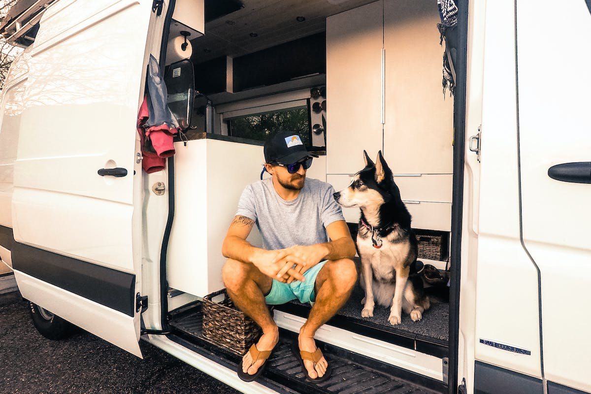 Van living with a dog