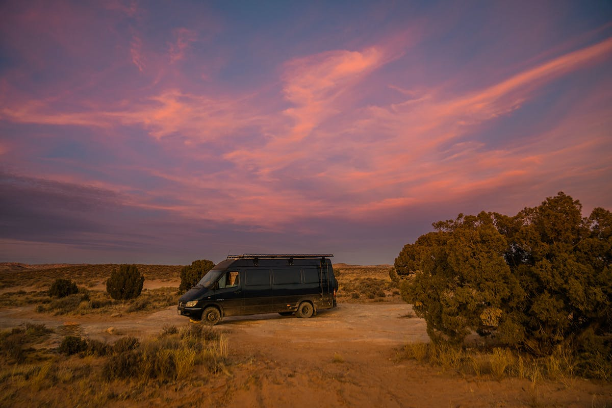 Landscape shot of the van