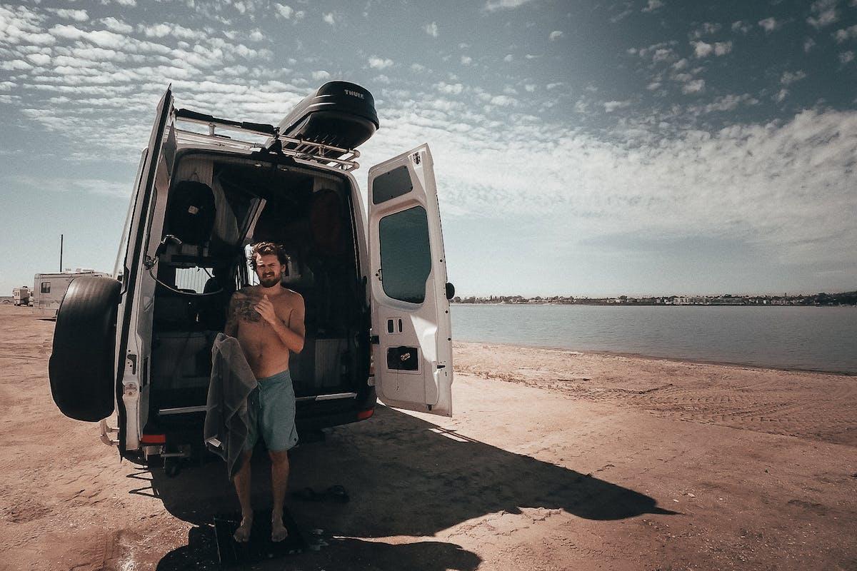 Showering outside the van