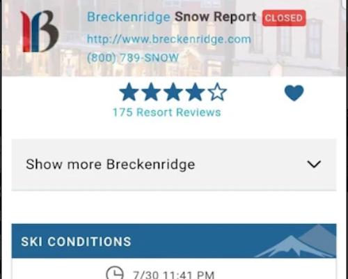 Screenshot of the OnTheSnow app