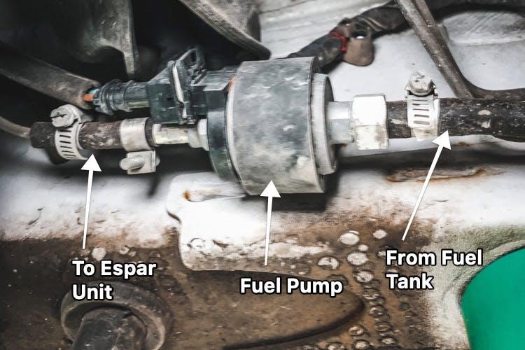 Under carriage shot showing espar connection to fuel tank
