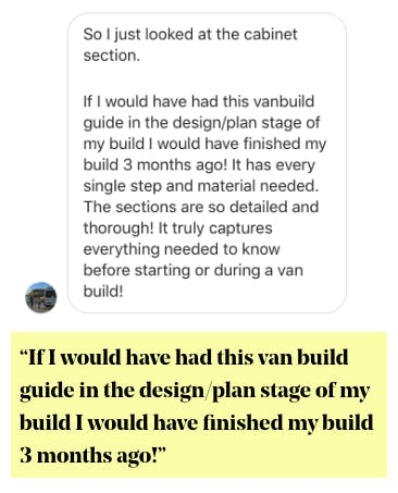 Van Build Guide Testimonial
