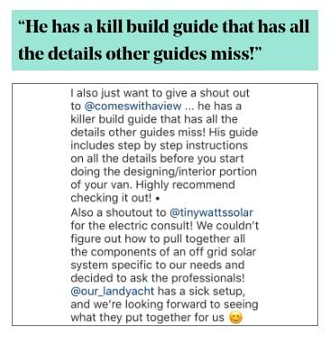 Van Build Guide Testimonial